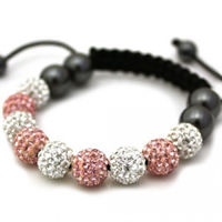 Buy Shamballa Pink and Clear Crystal Unisex Bracelet - SHAMBRAC-77 online