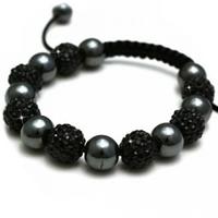 Buy Shamballa Black Crystal Disco Ball Unisex Bracelet - SHAMBRAC-86 online