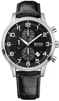 Buy Mens Hugo Boss Silver Black Chronograph Watch online