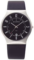 Buy Mens Skagen Black Leather Steel Watch online