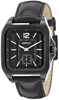 Buy Mens Black Dkny Leather Strap Watch online