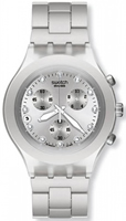 Buy Mens Swatch Full-blooded Silver Chronograph Watch online