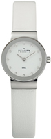 Buy Ladies Skagen White Leather Strap Watch online