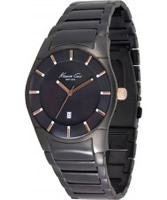 Buy Kenneth Cole Mens Black Ip Coasted Stainless Steel Black Dial Watch online