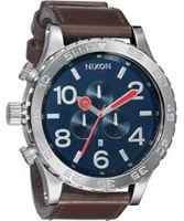 Buy Nixon The 51-30 Chrono Leather Blue Brown Watch online