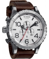 Buy Nixon The 51-30 Chrono Leather Silver Watch online