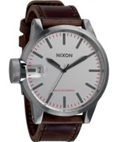 Buy Nixon Mens Chronicle Silver Brown Watch online