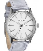Buy Nixon The Sentry Leather Light Blue Watch online