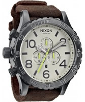 Buy Nixon The 51-30 Chrono Leather Gunmetal and Brown Watch online