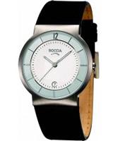 Buy Boccia Mens Titanium Black Leather Strap Watch online