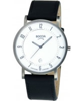 Buy Boccia Mens Titanium White Black Watch online