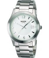 Buy Boccia Mens White Dial Titanium Bracelet Watch online