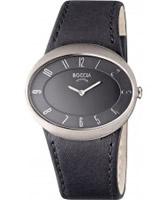 Buy Boccia Ladies Titanium Black Leather Strap Watch online