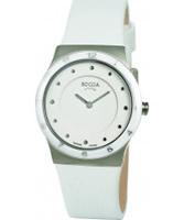 Buy Boccia Ladies Titanium White Leather Strap Watch online