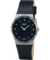 Buy Boccia Ladies Titanium Black Leather Strap Watch online