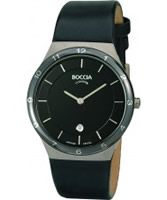 Buy Boccia Mens Titanium Sapphire Crystal Black Leather Strap Watch online