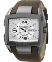 Buy Diesel Mens Carbon Polished Steel Leather Strap Watch online