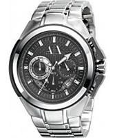 Buy Armani Exchange Mens Silver Black Sport Ranger Active Watch online