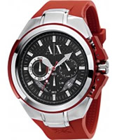 Buy Armani Exchange Mens Black Red Chronograph Active Watch online