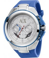 Buy Armani Exchange Mens Silver Blue Chronograph Active Watch online