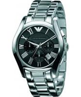 Buy Emporio Armani Mens Black Silver Valente Watch online