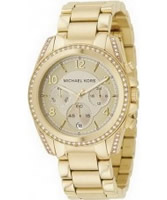 Buy Michael Kors Ladies Chronograph Gold Plated Watch online