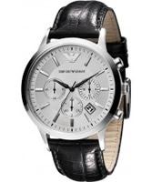 Buy Emporio Armani Mens Silver Black Renato Chronograph Watch online