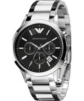 Buy Emporio Armani Mens Black Silver Renato Chronograph Watch online