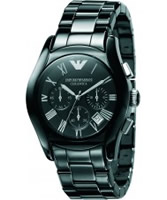 Buy Emporio Armani Mens Black Silver Ceramica Valente Watch online