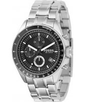 Buy Fossil Mens Black and Silver Decker Chronograph Watch online