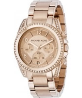 Buy Michael Kors Ladies Chrono Crystals Rose Gold Watch online