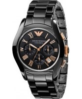 Buy Emporio Armani Mens Black Rose Gold Ceramica Valente Watch online