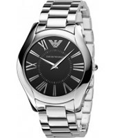 Buy Emporio Armani Mens Black Silver Super Slim Valente Watch online