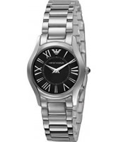 Buy Emporio Armani Ladies Super Slim Black Steel Watch online