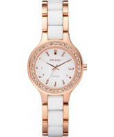 Buy DKNY Ladies White Ceramix Rose Gold Watch online