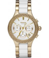 Buy DKNY Ladies Ceramix Chronograph Gold Watch online