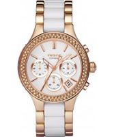 Buy DKNY Ladies Ceramix Chronograph Rose Gold Watch online