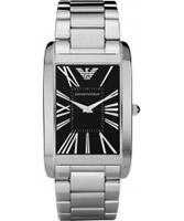 Buy Emporio Armani Mens Black Silver Marco Watch online