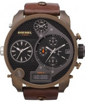 Buy Diesel Mens Big Daddy Chrono Black Brown Watch online