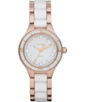 Buy DKNY Ladies Ceramix Rose Gold White Watch online