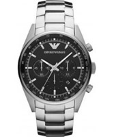 Buy Emporio Armani Mens Black Silver Tazio Sportivo Chronograph Watch online