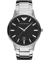 Buy Emporio Armani Mens Black Silver Renato Watch online