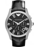 Buy Emporio Armani Mens Black Valente Chronograph Watch online