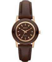 Buy DKNY Ladies Ceramix Brown Leather Watch online