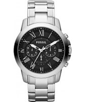 Buy Fossil Mens Black and Silver Grant Chronograph Watch online
