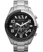 Buy Armani Exchange Mens Black Silver Zacharo Active Chronograph Watch online