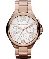 Buy Michael Kors Ladies Rose Gold Camille Chronograph Watch online