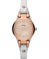 Buy Fossil Ladies Rose Gold and White Georgia Watch online