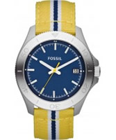 Buy Fossil Mens Blue and Yellow Retro Traveller Watch online