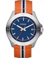 Buy Fossil Mens Blue and Orange Retro Traveller Watch online